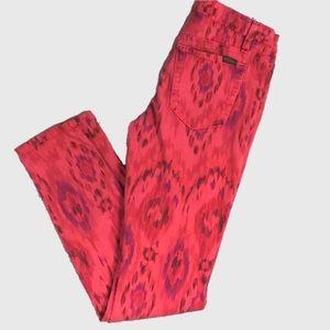 Joe's Jeans Skinny Jeans Red Ikat Print Size 27